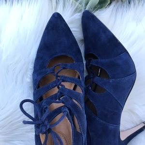 Corso Como blue velvet laced up pointed heels